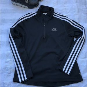 Adidas 3 stripe tricot track jacket 1/4 zip black
